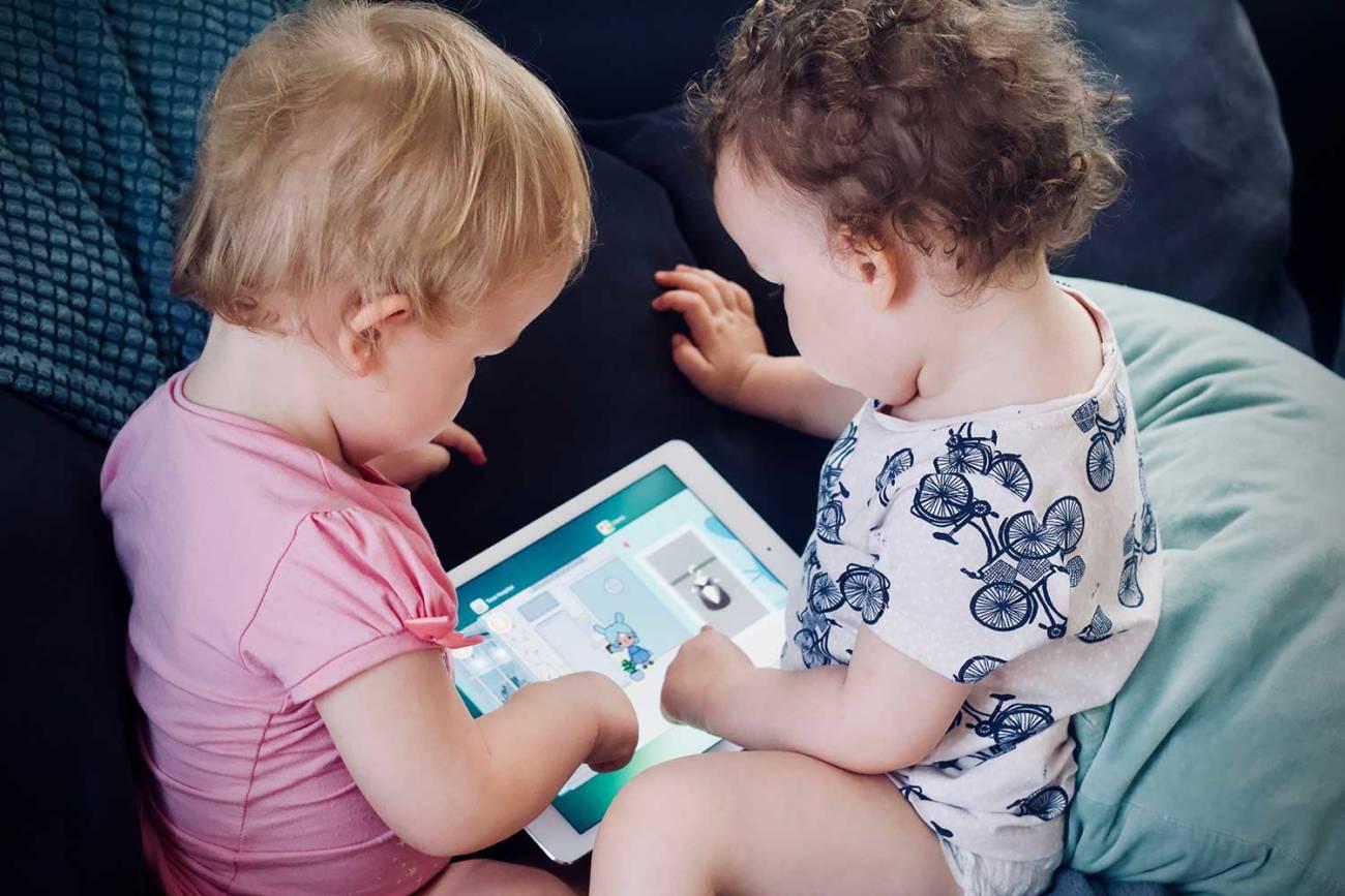 niños, tablet, digital,