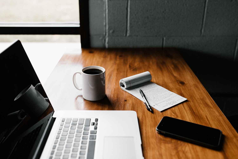 trabajo, estudio, tecnología, ordenador, informática, café, libreta, escribir