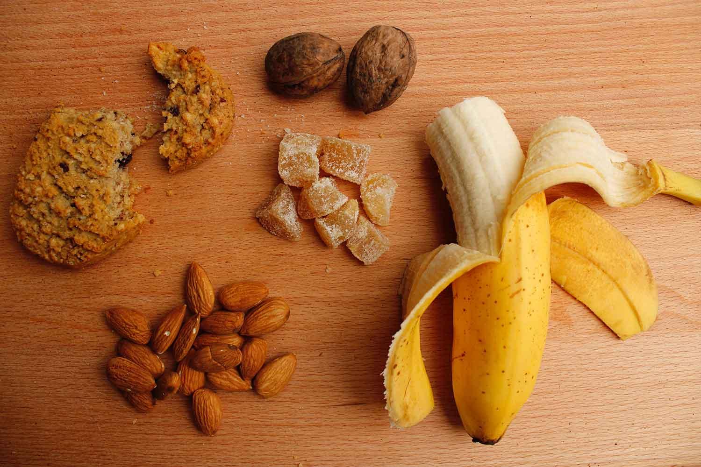 plátano, fruta, saludable, menú, merienda